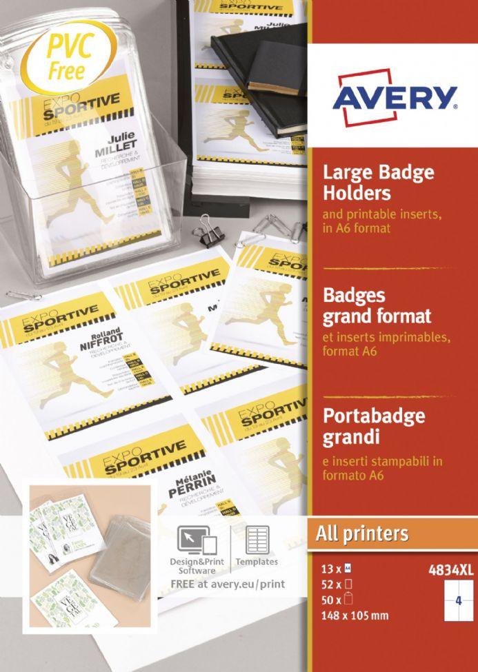 Large A6 Badge Holders with Inserts 4834XL